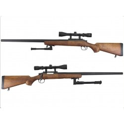 WELL VSR-10 Bolt Action Spring Rifle w/ Bipod & Scope (Wood)